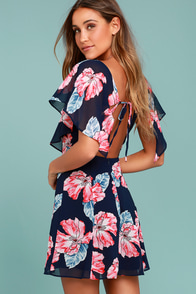 Flowers That Be Navy Blue Floral Print Dress