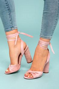 Rumer Blush Suede Lace-Up Heels