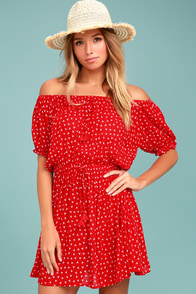 Faithfull the Brand Jardim Red Print Off-the-Shoulder Dress
