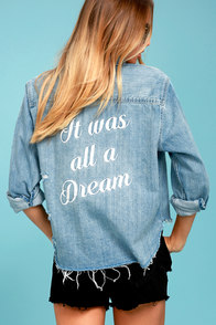 All a Dream Blue Denim Button-Up Top