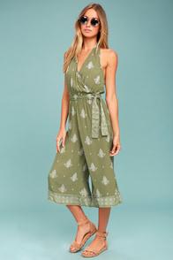 Faithfull the Brand Lima Sage Green Print Halter Midi Jumpsuit