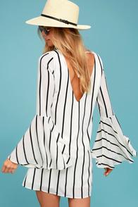 Baseline Black and White Striped Long Sleeve Shift Dress
