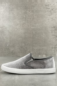 Reeza Grey Velvet Slip-On Sneakers