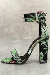 Angeline Black Multi Floral Brocade Ankle Strap Heels