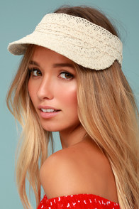 Honey Honey Beige Lace Visor
