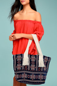 Billabong Lucky Me Navy Blue Embroidered Tote Bag