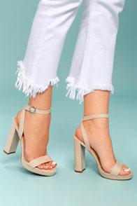 Katie Mae Natural Suede Platform Ankle Strap Heels