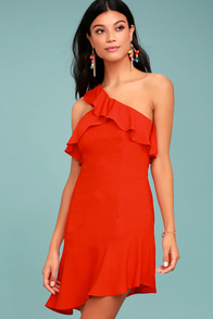 Beautiful View Coral Red One-Shoulder Dress