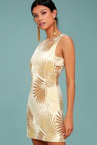 Royal Palms Gold Brocade Dress