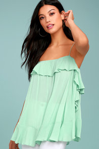 Free People Cascades Mint Blue Tank Top