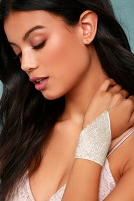 New Friends Colony Glittered-Up Ivory Sequin Harness Bracelet