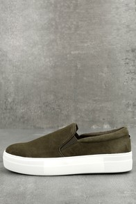 Steve Madden Gills Olive Suede Leather Slip-On Sneakers