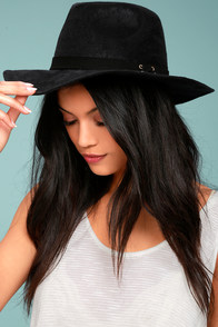 Top It Off Black Suede Fedora Hat