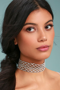 That's Hot Silver Rhinestone Choker Necklace