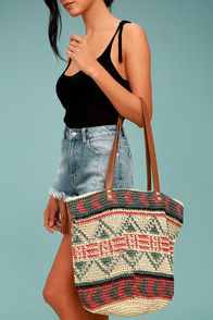 Billabong East of Dover Beige Woven Tote Bag