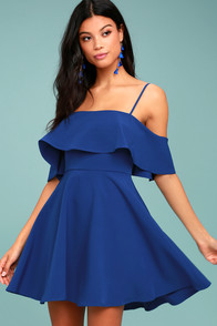 Waterfront Royal Blue Off-the-Shoulder Skater Dress