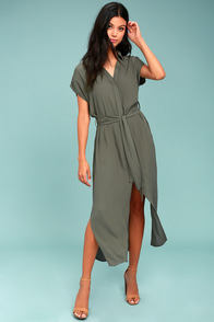 Destination Chic Olive Green Midi Dress