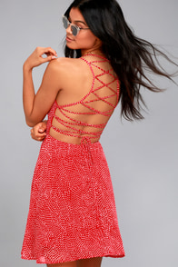 Happy Together Red Polka Dot Lace-Up Dress