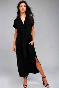 Destination Chic Black Midi Dress