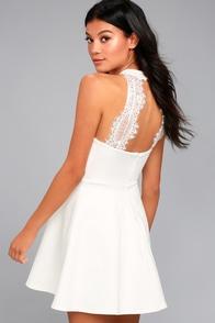 Hometown Girl White Lace Skater Dress