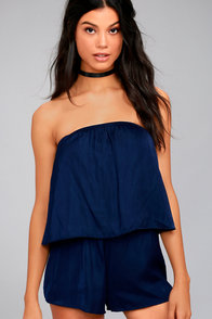 Catia Navy Blue Satin Strapless Romper