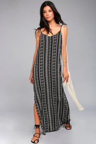 Olive & Oak Emory Black Print Maxi Dress
