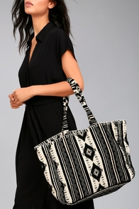 Amuse Society Nash Black Print Tote Bag
