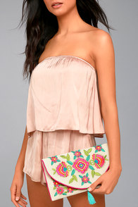 Perfect Petals Beige Floral Embroidered Clutch