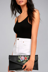Favorite Foliage Black Embroidered Clutch