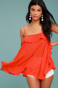 Free People Cascades Coral Red Tank Top