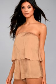 Catia Blush Satin Strapless Romper