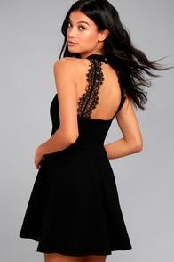 Hometown Girl Black Lace Skater Dress