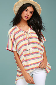 At Sunset Cream Striped Poncho Top