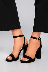 Katie Mae Black Suede Platform Ankle Strap Heels