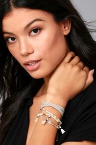 Brilliant Dreams Grey Suede Beaded Tassel Bracelet