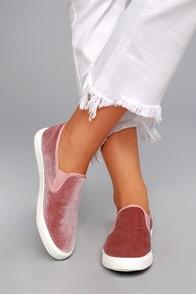 Reeza Blush Velvet Slip-On Sneakers