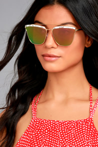 Starry Galaxy Gold and Pink Mirrored Sunglasses