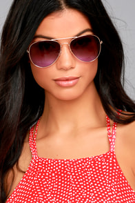 Afternoon Attraction Gold and Purple Aviator Sunglasses