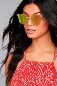 Modern Twist Rose Gold and Pink Mirrored Sunglasses