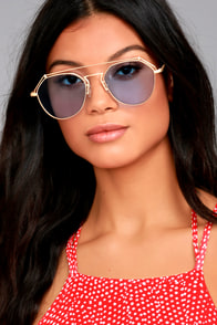 YHF Los Angeles Stephanie Matte Gold and Blue Sunglasses