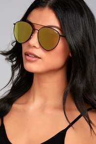 Quay Indio Black and Gold Aviator Sunglasses
