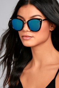 Style For Miles Black and Blue Mirrored Sunglasses
