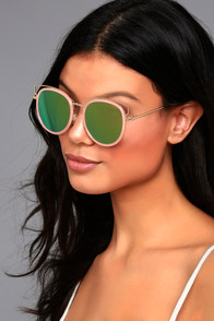 French Riviera Gold and Pink Mirrored Sunglasses