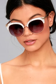 Romantic Reason Gold and White Sunglasses