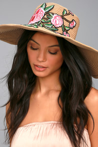 West End Tan Embroidered Straw Floppy Hat