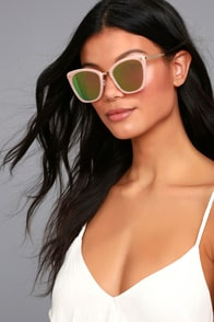 Style For Miles Pink and Green Mirrored Sunglasses