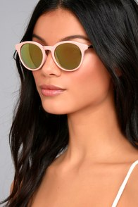 Pretty Pastime Pink and Yellow Mirrored Sunglasses
