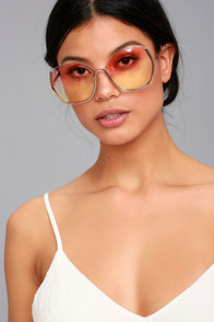 Vibrant Vibes Rose Gold and Yellow Sunglasses