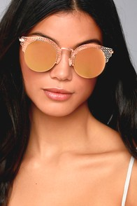 Livin' Easy Rose Gold Mirrored Sunglasses