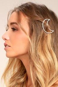 Waning Moon Silver Hair Clip